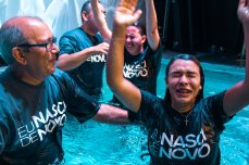 Juliana celebrating after baptism